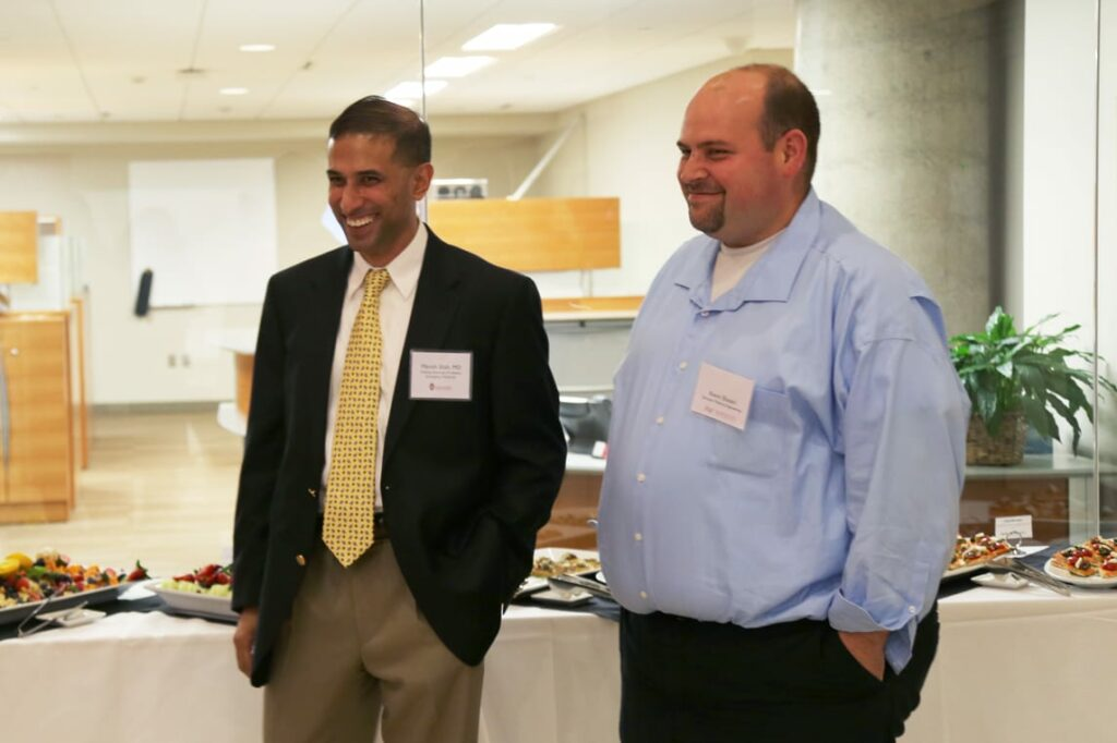 Dr. Manish Shah, UW Emergency Medicine, and Kevin Eliceiri, interim director of Morgridge Medical Engineering, both spoke about the importance of collaborations across disciplines like medicine and engineering.