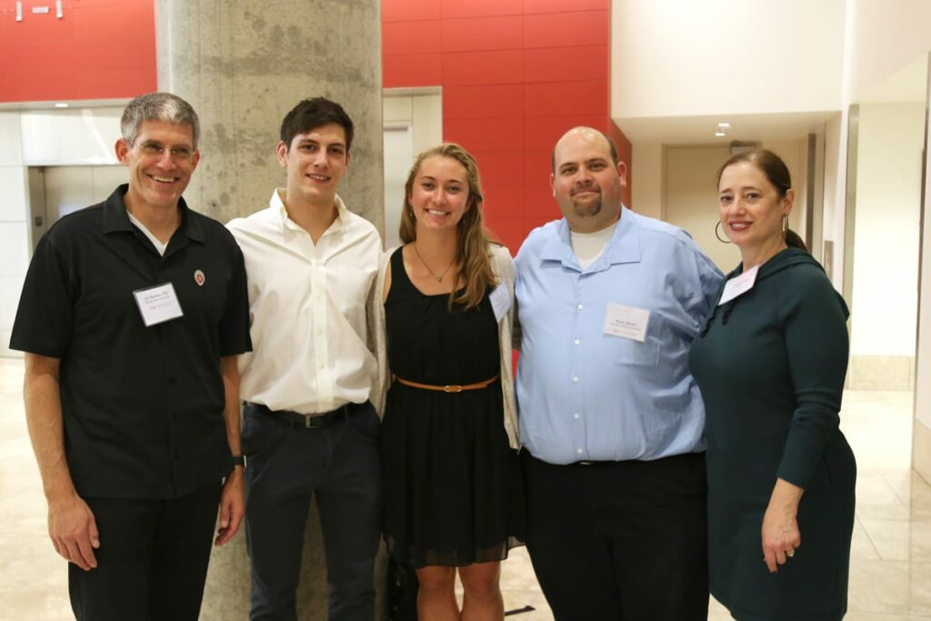 Eliceiri hopes to involve students working at the Fab Lab in many of the prototype pathway projects. Pictured: James Berbee, Eric Ronning (recent engineering graduate), Kayla Huemer (junior in biomedical engineering), Kevin Eliceiri, Karen Walsh.