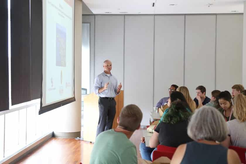 Bill Murphy, co-director of the Stem Cell and Regenerative Medicine Center and professor of biomedical engineering at UW-Madison, discusses the field of regenerative biology at a lunchtime lecture. Murphy has been an integral part of the camp since its inception in 2006.