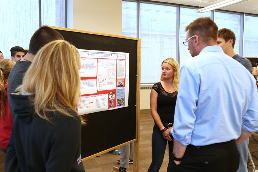 The four-day camp ends with a poster session presented by the students. They create the posters based on research and activities they learned about during the camp.