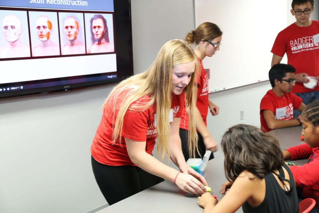 Participants learned about the steps of facial reconstruction-- scientists often start with a skull, then add muscle, skin and hair to create a model. In this activity, kids used 3D printed skulls and modeling clay to try the process for themselves.