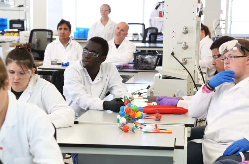 High school students learn about CAR-T cell therapies, a new type of immunotherapy used to treat some forms of cancer. Activity presented by the Kris Saha Lab.